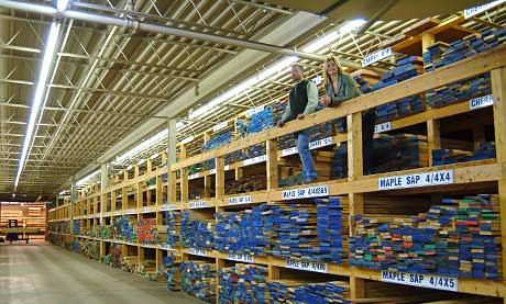 Organized lumber on racks